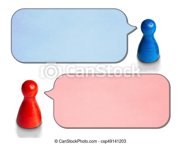 Game figures with angled speech bubbles isolated on white background. Concept for discussion, chat, communication. - csp49141203