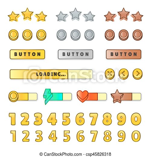 Game graphical user Interface GUI  Design, buttons and icons  Game ui kit  illustration isolated on white background
