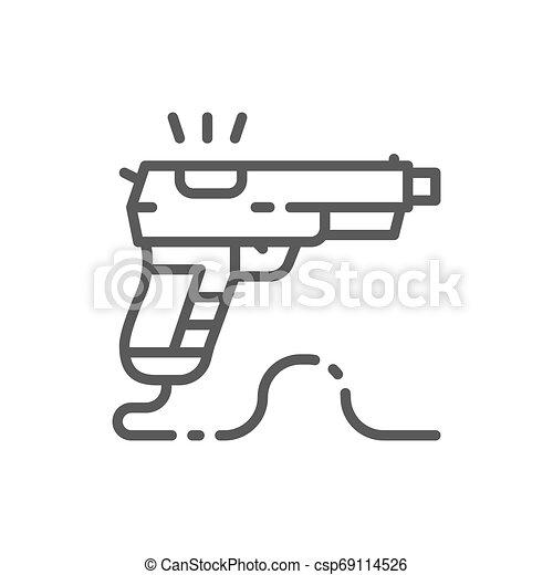 Game gun, pistol line icon. - csp69114526