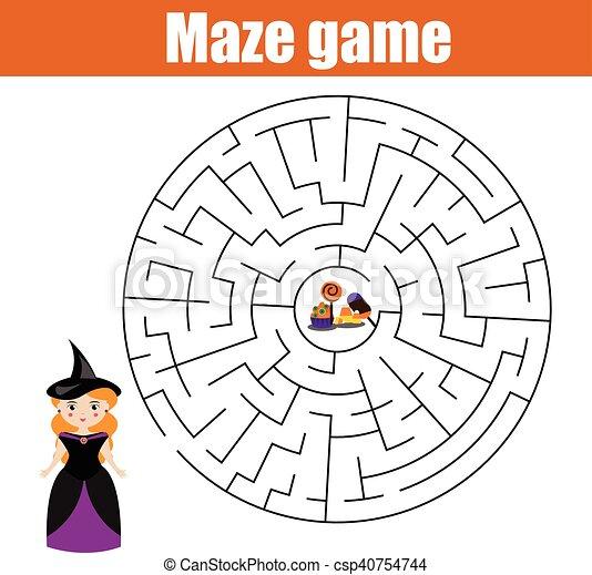 Game., halloween, schauen, süßigkeiten, labyrinth, m�dchen. Kinder ...