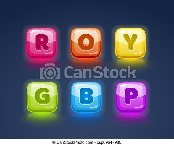 Game match icon. Square set in different colors. - csp69647980