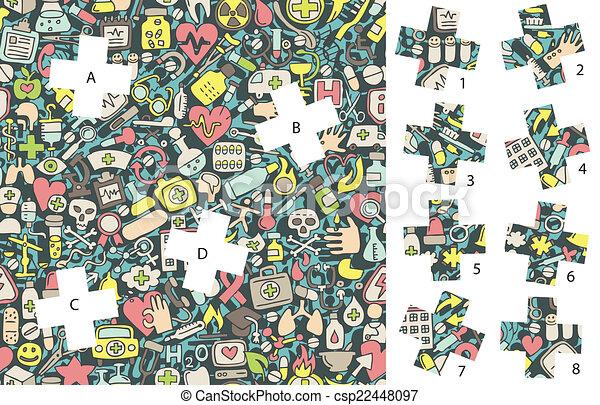 game., medicine:, caché, allumette, morceaux, solution, layer!, visuel - csp22448097