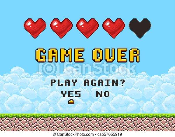 Game over pixel art arcade game screen vector illustration - csp57655919