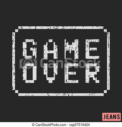 game over print design  designed for printing products, badge, applique, label  clothing, t-shirts, jeans and casual wear  vector illustration