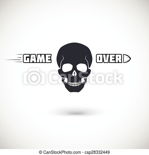 Game over, symbol with skull. - csp28332449