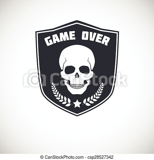 Game over, symbol with skull. - csp28527342