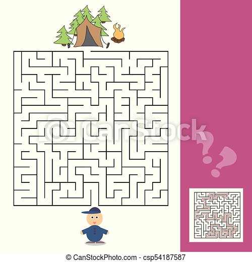 Game template with children camping - illustration with answer. Maze ...