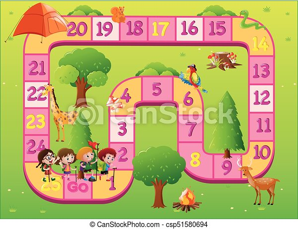 game template with kids at the zoo illustration