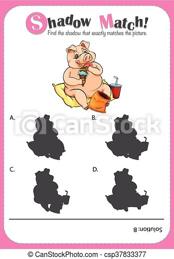 game template with shadow matching pig illustration