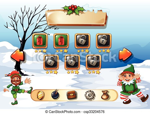 game template with two elves illustration
