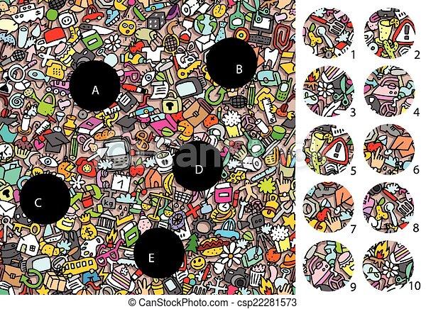 game., visuel, objects:, solution, morceaux, layer!, caché, allumette - csp22281573