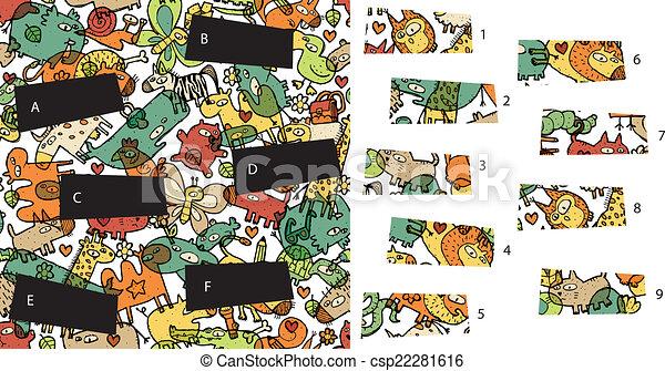 game., visuel, solution, morceaux, layer!, caché, animals:, allumette - csp22281616