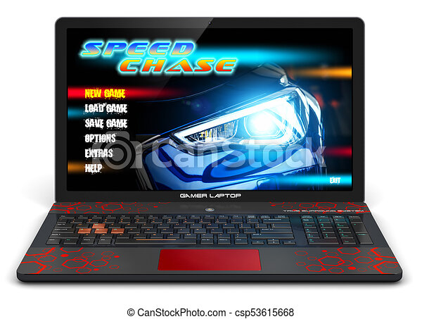 Gamer laptop with video game. Creative abstract computer gaming and ... 94057ab76c