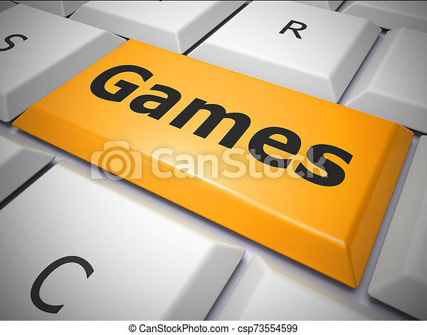 Games Button To Show Online Sports And Amusement 3d Illustration Games Button To Show Online Sports And Amusement Like
