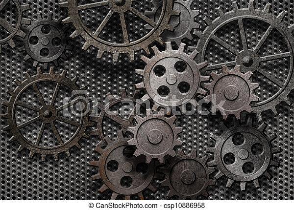 gamle, abstrakt, maskine, rustne, dele, det gears - csp10886958