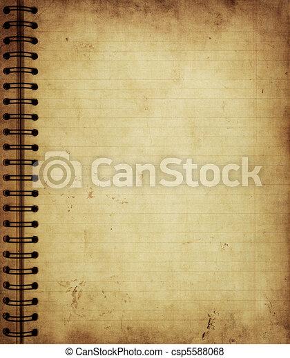 gammal, anteckningsbok, grunge, sida - csp5588068
