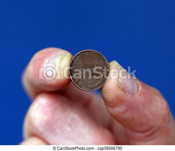 gammal, hålla, mynt, tyskland, fingrar - csp39566790