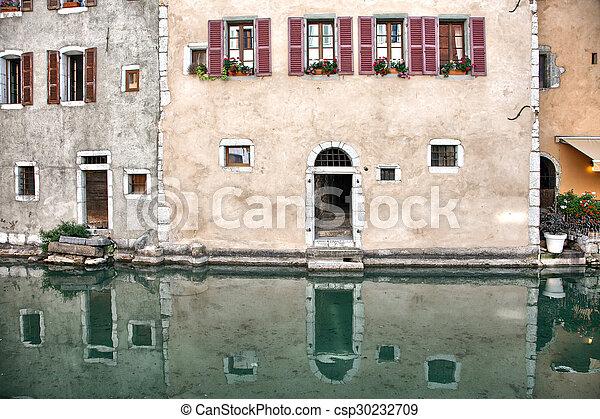 Gammal Medeltida Frankrike Vatten Hus Kanaler Annecy