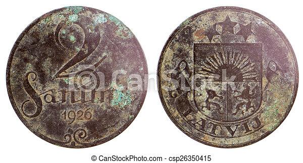 gammal, mynt, sällsynt, lettisk - csp26350415