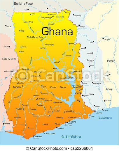 mapa do pais gana Gana, país. Gana, mapa, cor, país, abstratos, vetorial. mapa do pais gana