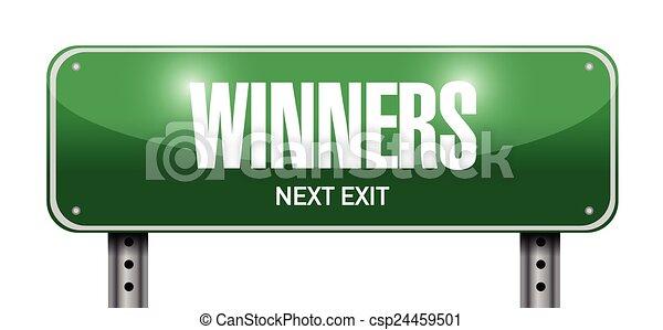 Los ganadores de la calle señalan ilustraciones - csp24459501