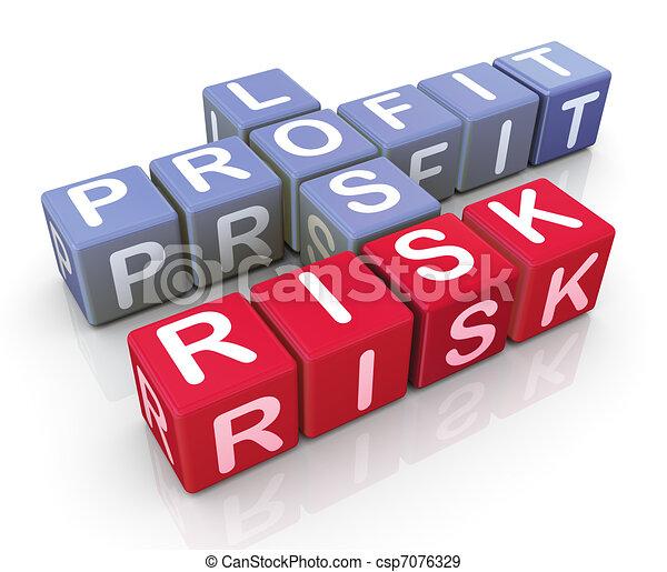 Crucigrama de ganancias, pérdida y riesgo - csp7076329