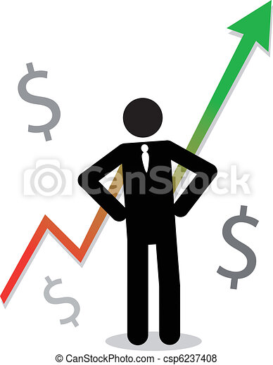 Hombre de negocios con gráficos mostrando beneficios - csp6237408