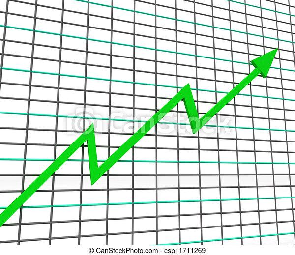 El gráfico verde muestra una línea de ganancias - csp11711269