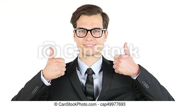 ganancia, moderno, arriba, ganancias, pulgares, ingresos, hombre de negocios, ganancia - csp49977693