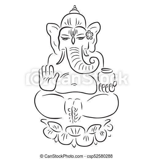 ganapati meditation in lotus pose hindu god ganesha
