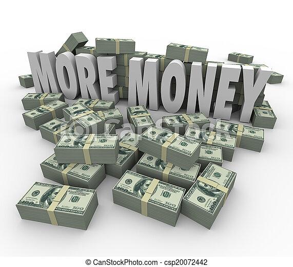ganar, más grande, pilas, paga, ingresos, efectivo, palabras, dinero, pilas, más - csp20072442