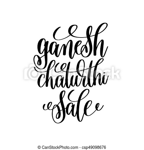 Ganesh chaturthi sale hand lettering calligraphy inscription to ganesh chaturthi sale hand lettering calligraphy inscription csp49098676 m4hsunfo