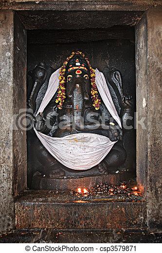 Ganesh statue in Hindu temple. Brihadishwarar Temple, Thanjavur, Tamil Nadu, India - csp3579871
