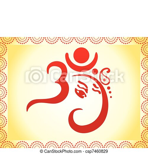 ganesha based om text - csp7460829