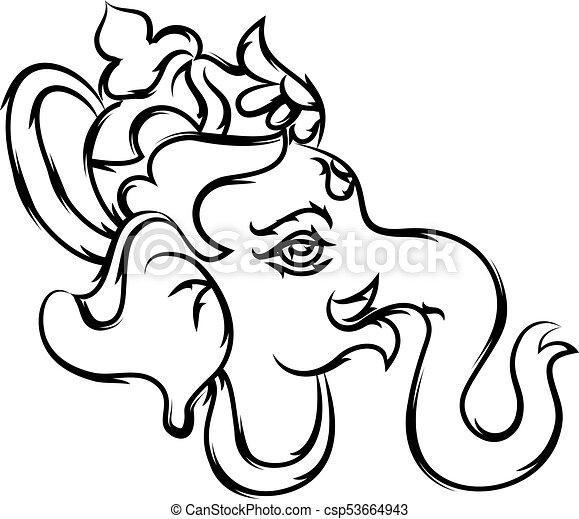 Ganesha Calligraphic Hand Drawn - csp53664943