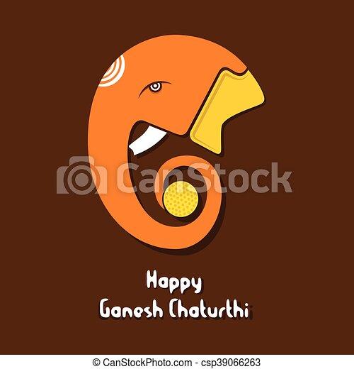 Ganesha chaturthi festival greeting card design vector ganesha chaturthi festival greeting csp39066263 m4hsunfo