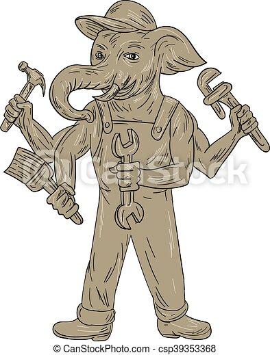 Ganesha Elephant Handyman Tools Drawing - csp39353368