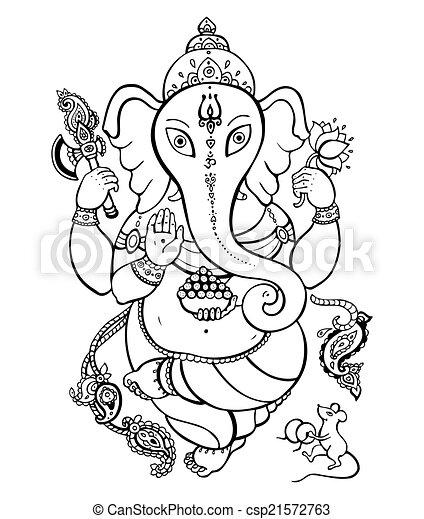 Ganesha Hand drawn illustration. - csp21572763