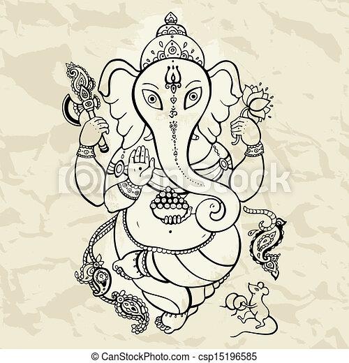 Ganesha Hand drawn illustration. - csp15196585