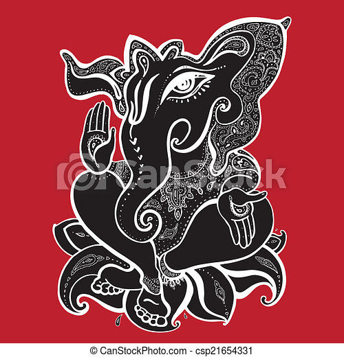 Ganesha Hand drawn illustration. - csp21654331