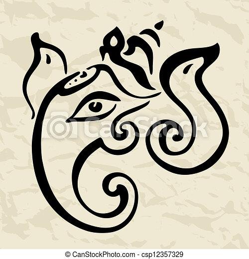 Ganesha Hand drawn illustration. - csp12357329