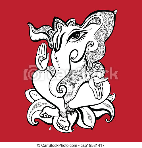 Ganesha Hand drawn illustration. - csp19531417