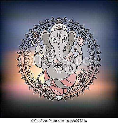 Ganesha Hand drawn illustration. - csp20977316