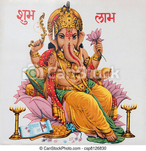 Ganesha sitting on lotus flower, In - csp8126830