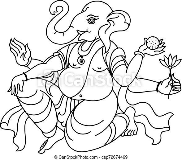 Ganesha The Elephant God Of Hindu Religion - csp72674469