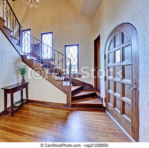 Gang Eingang Treppenaufgang Haus Luxus Interior Schone Gang