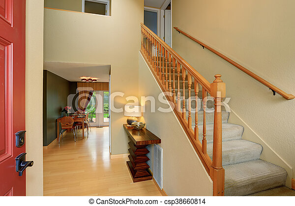 Gang eingang treppenaufgang set. elfenbein essen töne tisch