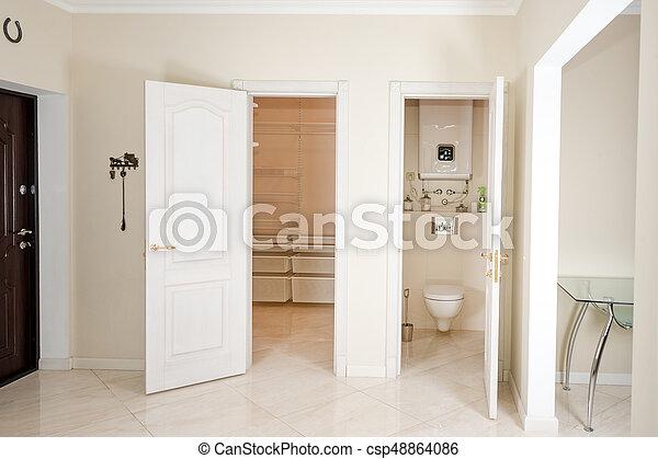 Gang eingang wandschrank haus walk in türen interior. weißes
