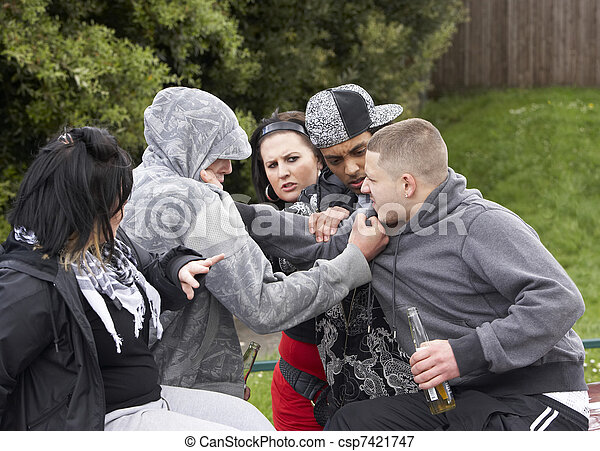 Gang Of Youths Fighting - csp7421747