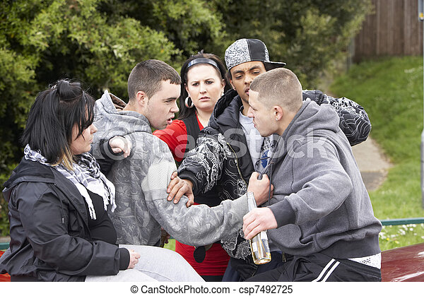 Gang Of Youths Fighting - csp7492725